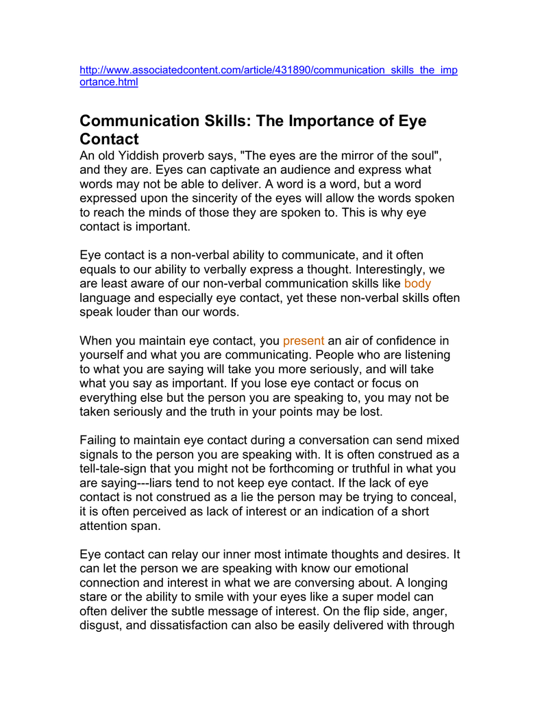 Communication Skills: The Importance of Eye Contact