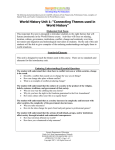 "World History Unit 1: ""Connecting Themes used in World History"