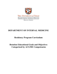 DEPARTMENT OF INTERNAL MEDICINE Residency Program