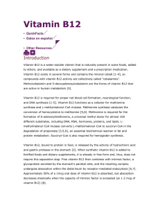 Vitamin B12 QuickFacts Datos en español Health Professional Other