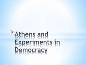 Athens and Experiments in Democracy