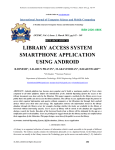 LIBRARY ACCESS SYSTEM SMARTPHONE APPLICATION USING