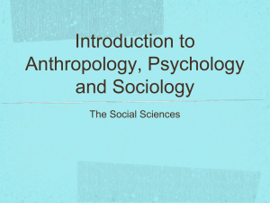 Introduction to Anthropology, Psychology and Sociology