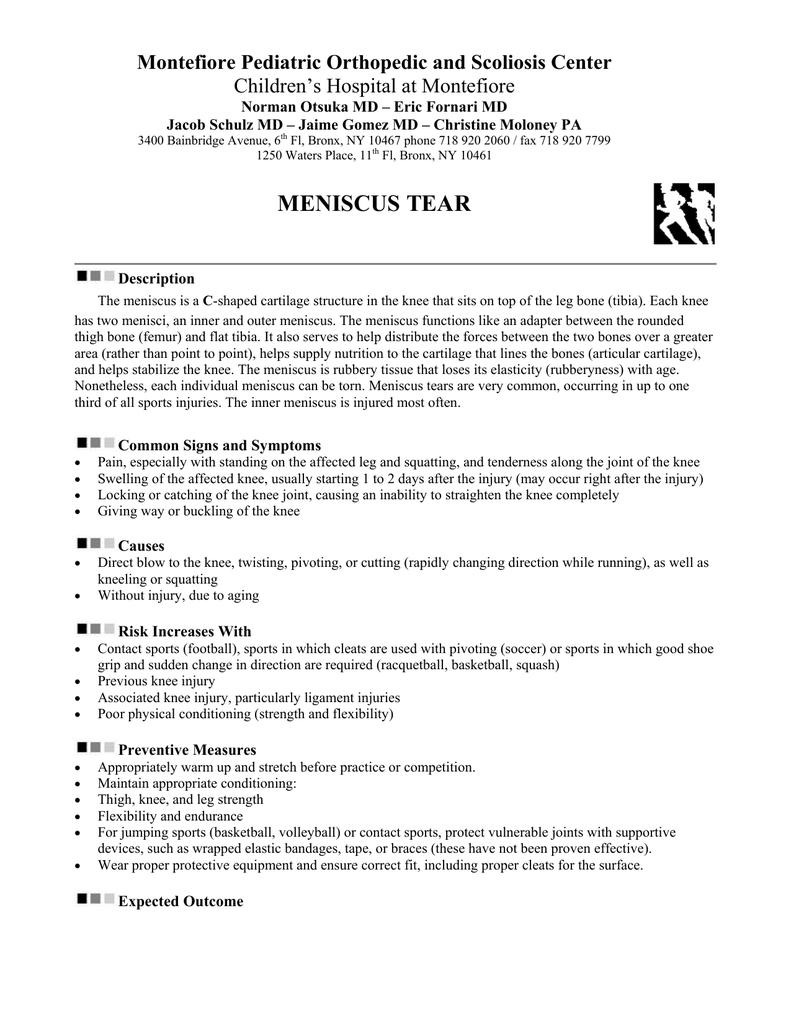 meniscus tear - The Children`s Hospital at Montefiore