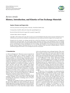 History, Introduction, and Kinetics of Ion Exchange Materials