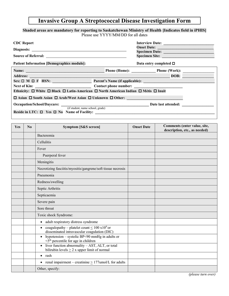 Invasive Group A Streptococcal Disease Investigation Form