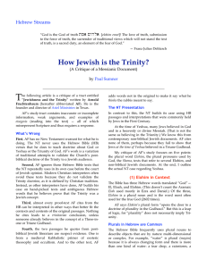 How Jewish is the Trinity?