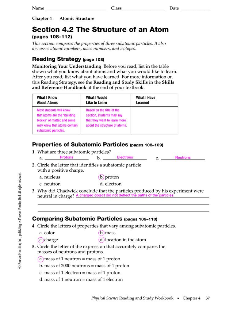 Structure Of An Atom Worksheet Merit Badge Worksheets