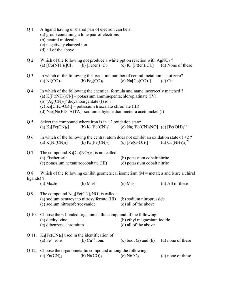 19 Co-Ordination Chemistry and Orgnometallics