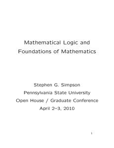 Mathematical Logic and Foundations of