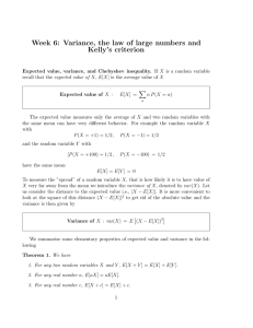 Week 6: Variance, the law of large numbers and