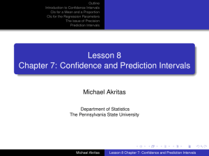 Lesson 8 Chapter 7: Confidence and Prediction Intervals