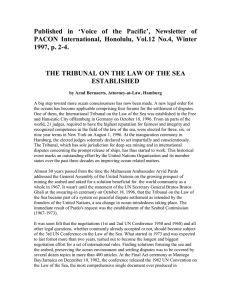 THE TRIBUNAL ON THE LAW OF THE SEA EST ABLISHED
