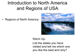 North America Introduction and Regions of the USA PPT