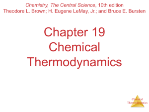 Chapter 19 Chemical Thermodynamics