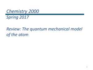 Chemistry 2000 Review: quantum mechanics of