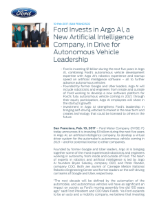 Ford Invests in Argo AI, a New Artificial Intelligence