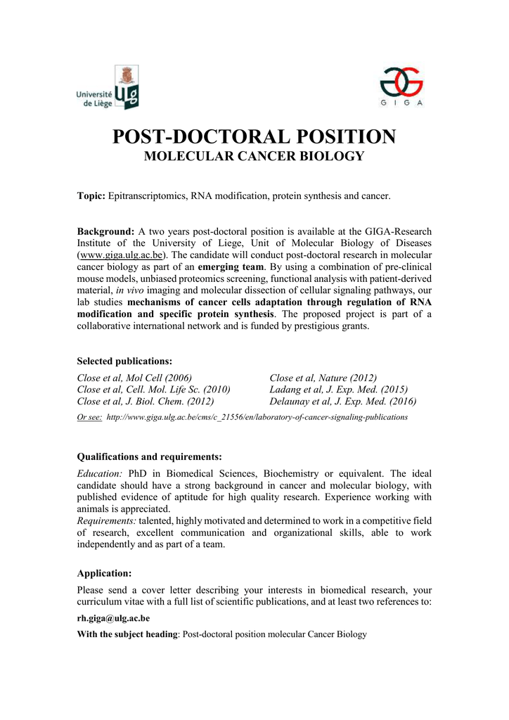 Postdoctoral Position 2 Years In Molecular Cancer Biology