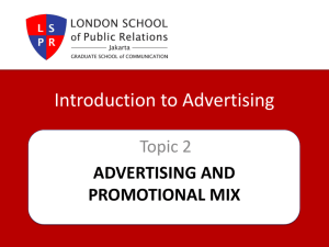 The Relationship of Advertising to the Promotional Mix