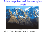 Lecture 11 -Metamorphism and Metamorphic Rocks