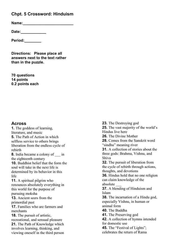 Chapter 5 Crossword