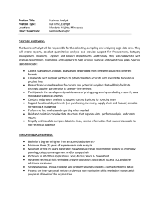 Position Title: Business Analyst