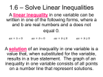 1.6 – Solve Linear Inequalities