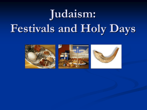 Judaism: Holy Days and Celebrations