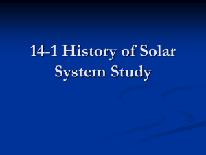 14.1 History of the Solar System