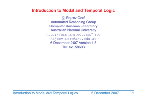 Introduction to Modal and Temporal Logic