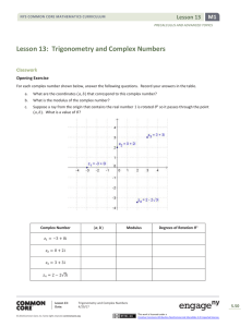 Trigonometry and Complex Numbers