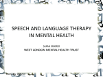 SPEECH AND LANGUAGE THERAPY IN MENTAL HEALTH