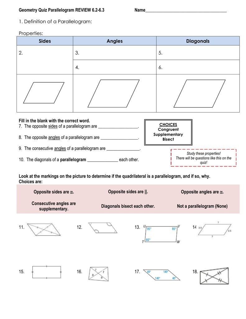 Geometry Quiz Parallelogram REVIEW 6.2