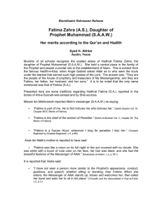 Fatima Zahra (A.S.), Daughter of Prophet Muhammad