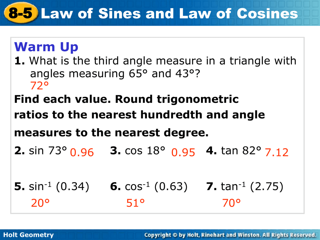 8-5 problem solving law of sines and law of cosines