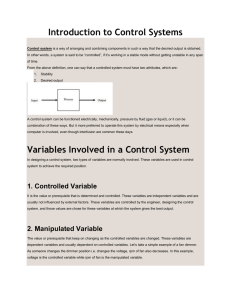 Introduction to Control Systems Variables Involved in a Control System
