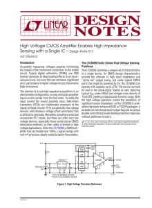 High Voltage CMOS Amplifier Enables High Impedance Sensing