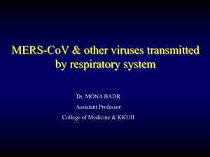 MERS-COV and other viruses transmitted through