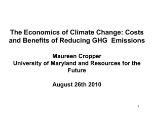 Costs and Benefits of Reducing Greenhouse Gas Emissions