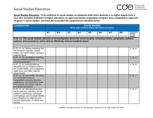 Social Studies Education - Colorado Department of Education