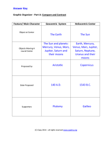 Geocentric and Heliocentric Graphic Organizer-Answer Key