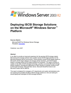Deploying iSCSI Storage Solutions on Microsoft