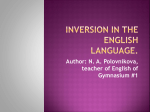 Inversion in the English Language.