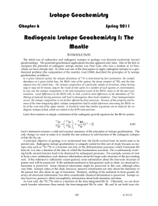 Radiogenic Isotope Geochemistry of the Mantle