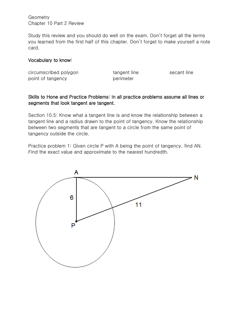 Geometry Chapter 10 Part 2 Review Study this review and you