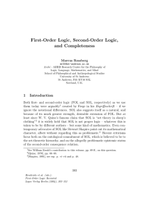 First-Order Logic, Second-Order Logic, and Completeness