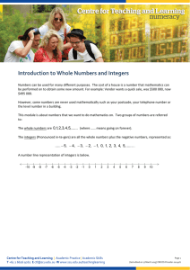 Introduction to Whole Numbers and Integers