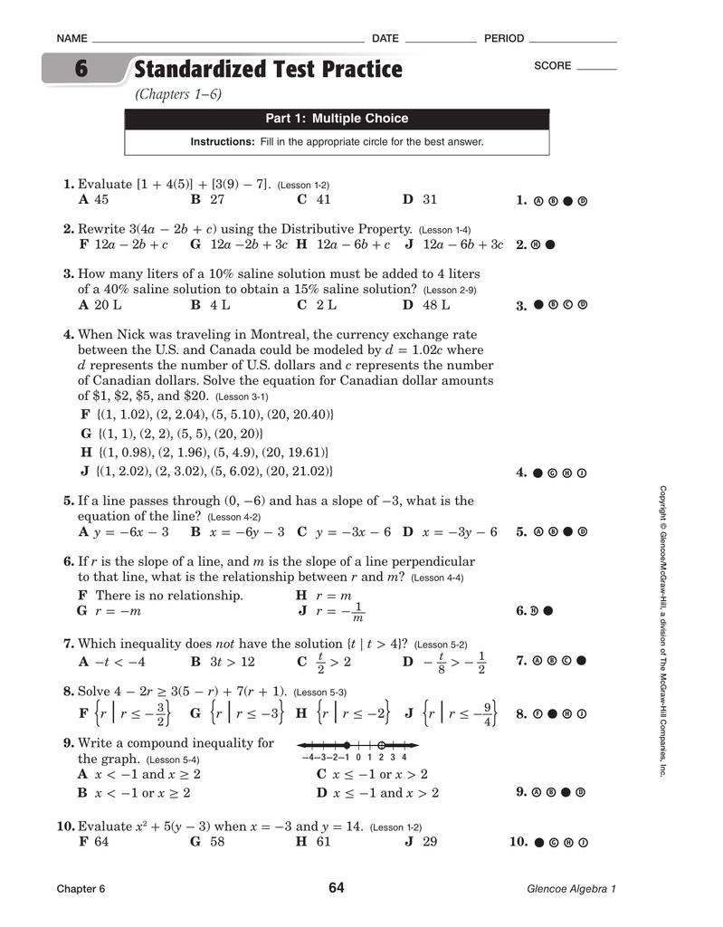 Bestseller: Glencoe Algebra 1 Chapter 6 Test Answer Key