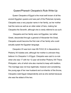 Queen/Pharaoh Cleopatra`s Rule Write
