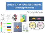 Lecture 17.The d-Block Elements.General properties